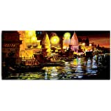 Tamatina Canvas Painting - A Night in Varanasi - Paintings for Living Room - Paintings for Bedroom - Canvas Wall Art - Indian Canvas Paintings