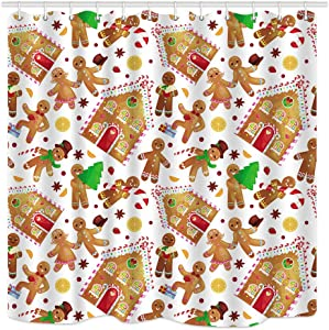 DYNH Christmas House Gingerbread Man Shower Curtain, Waterproof Polyester Fabric Bathroom Decor, Bath Curtains Accessories, with Hooks, 69X70 Inches