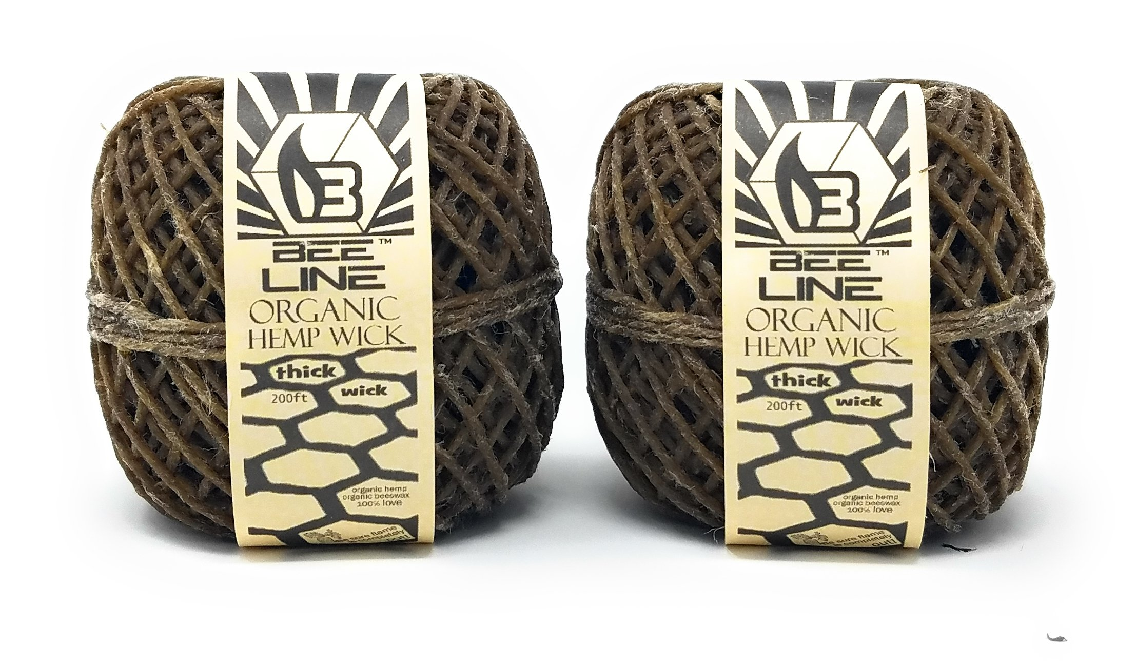 Bee Line Organic Hemp Wick - Thick Gauge 200 FT Spool - 2 Pack ... by Bee Line
