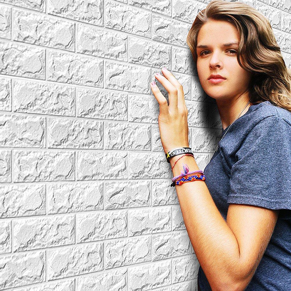 Malloom® PE Schaum 3D Wallpaper DIY Wandaufkleber Dekor Embossed Backstein weiß 60 X 60 X 0,8 cm 10 stück (weiß, 10 stück)