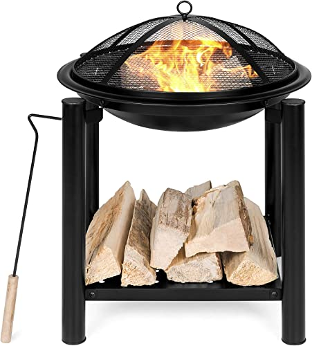 Best Choice Products 21.5-inch Outdoor Fire Pit Bowl Table and Storage