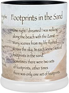 Elanze Designs Footprints in The Sand Ceramic Stoneware Electric Large Jar Candle Warmer
