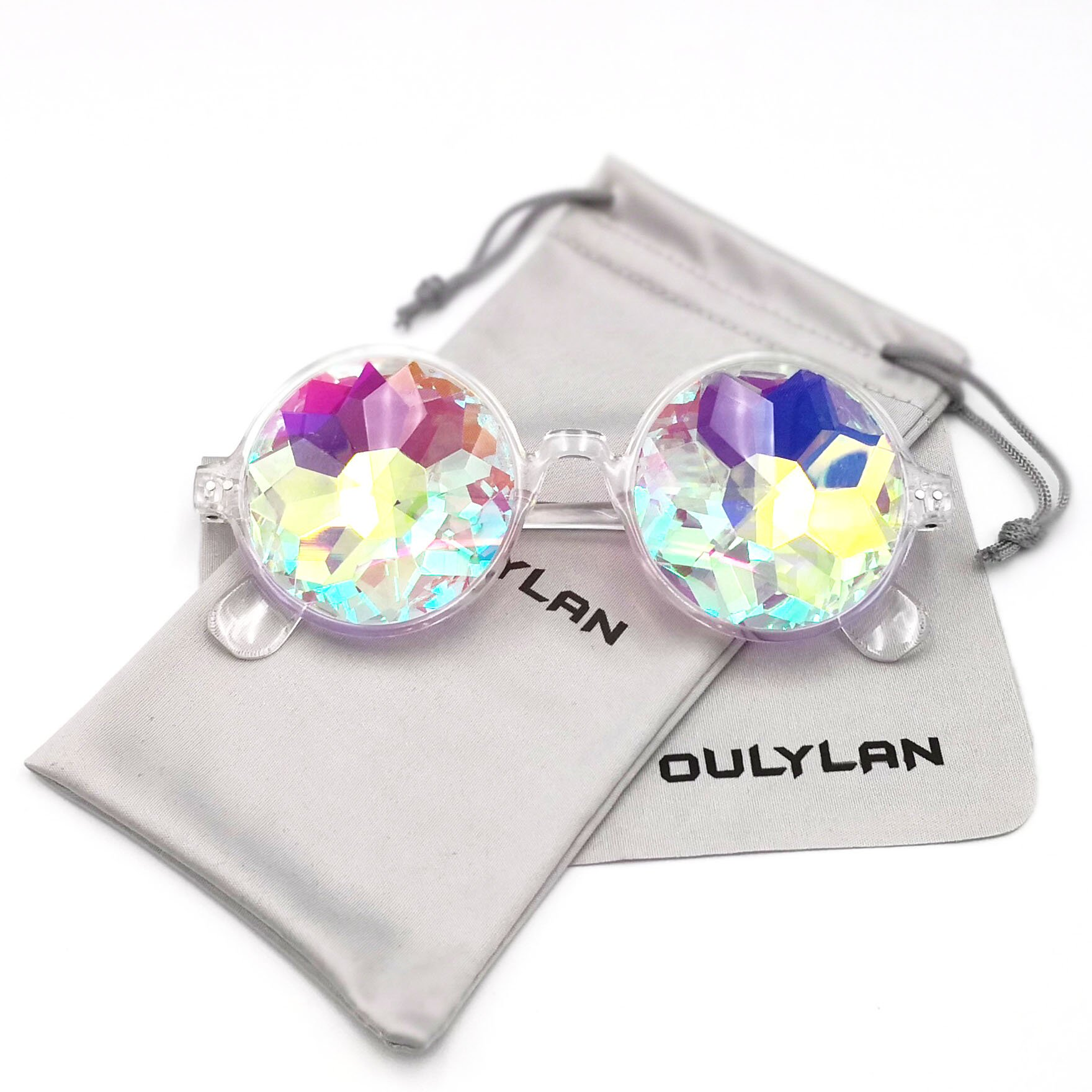 Round Kaleidoscope Glasses Rainbow Prism Sunglasses for Women Men OULYLAN Party Rave Festival Glasses with Grey Sun Glasses Cloth Bag (Clear) by OULYLAN