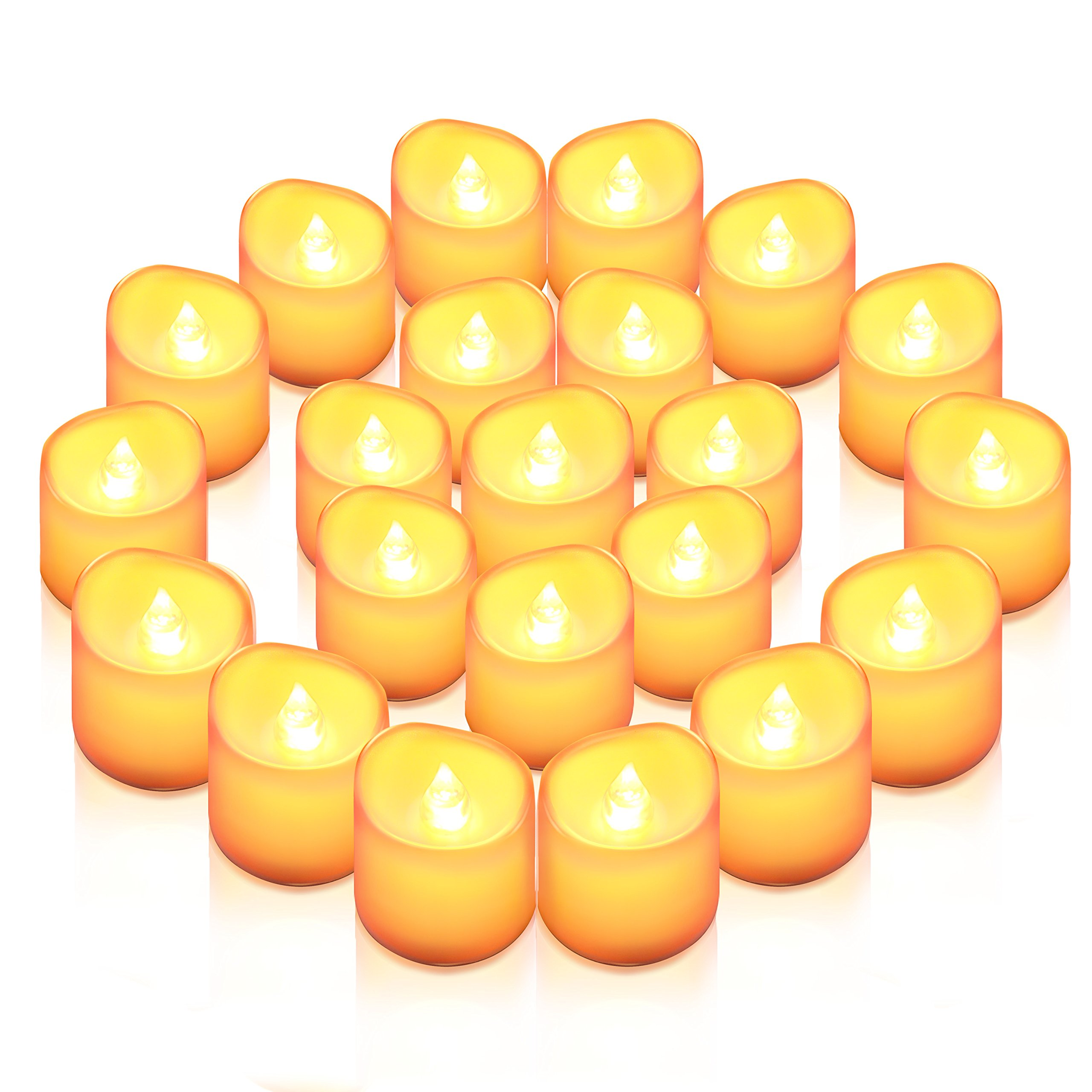 AMIR Flameless Candles, 24 PCS LED Tea Light Candles, Realistic Flickering Votive Candle Lights for Seasonal & Festival Celebration, Party & Wedding Decoration, Wave Open Battery Included (Warm White)