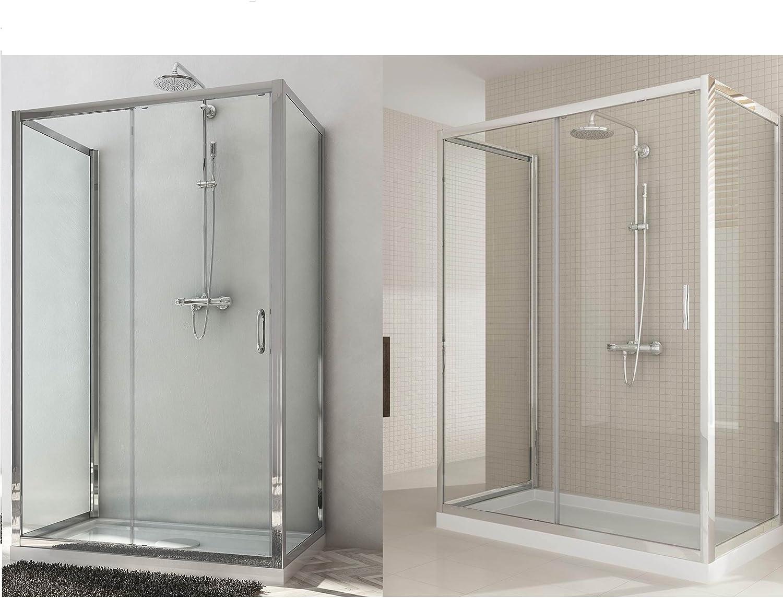 Box ducha dos puertas fijas y puerta deslizante 3 lados Altura 185 ...