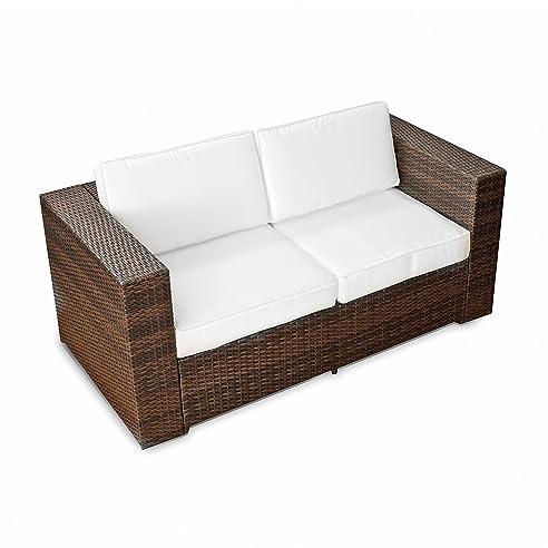 Amazon.de: XINRO (2er) Polyrattan Lounge Sofa - Gartenmöbel Couch ...