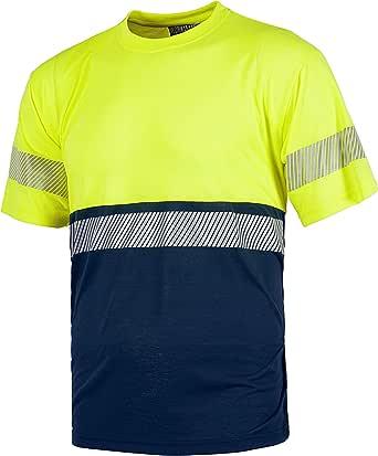 Work Team Camiseta combinada de Manga Corta en poliéster. Reflectantes y Parte Superior de Alta Visibilidad. Cuello Redondo en Punto canalé con cubrec Hombre