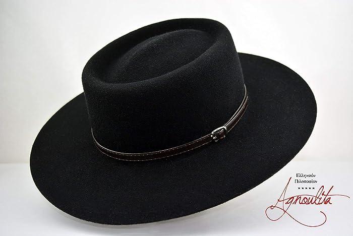 Amazon.com  The Gambler - Wool Felt Gambler Crown Bolero Hat - Wide Brim -  Men Women  Handmade fa9f72310d5