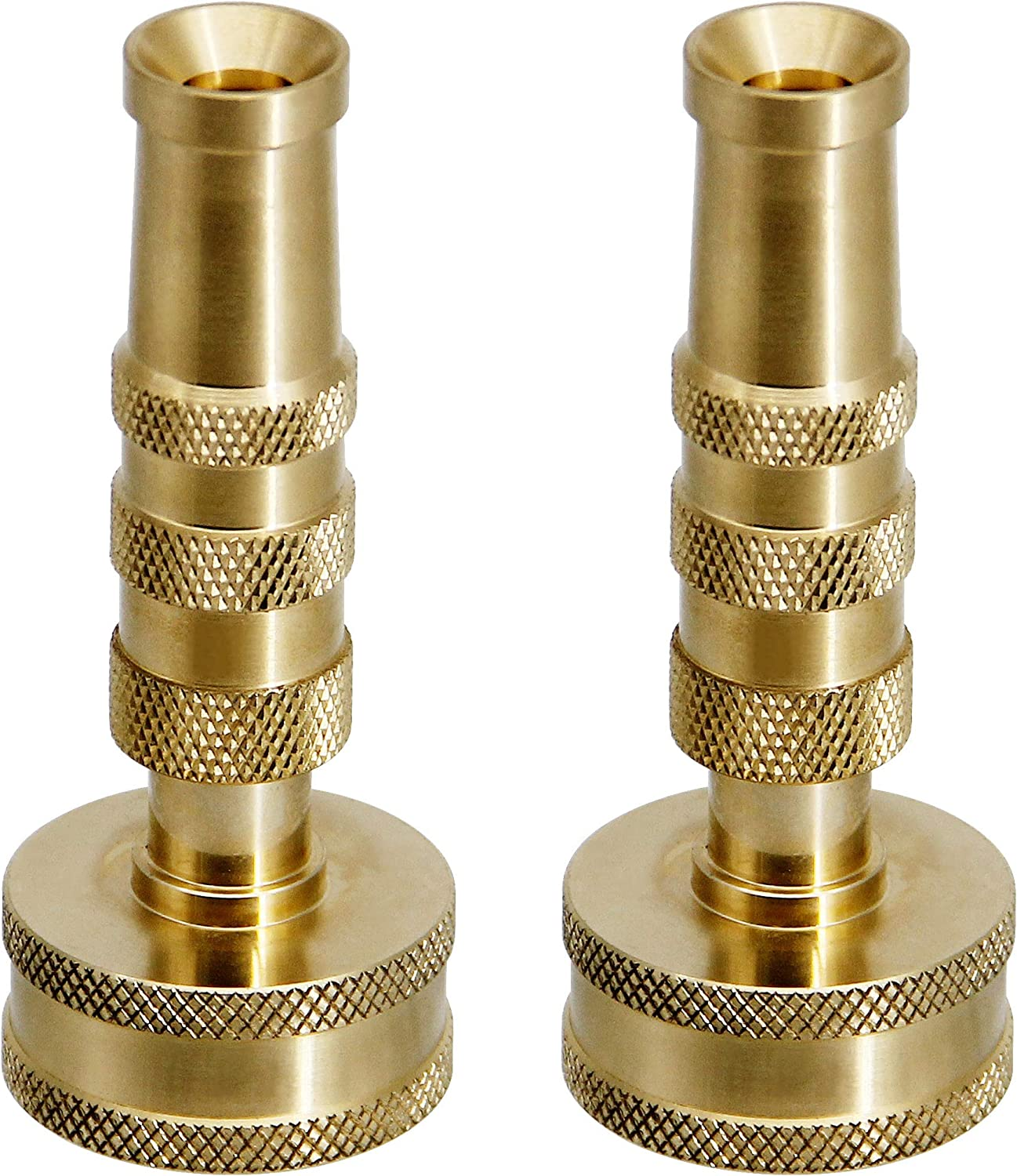 "ATDAWN Brass Hose Nozzle, Heavy-Duty Brass Adjustable Twist Hose Nozzle, 2 Pack (3"")"