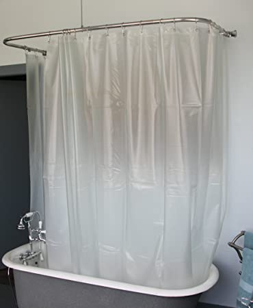 Extra Wide Vinyl Shower Curtain For A Clawfoot Tub/opaque With Magnets  180u0026quot; ...