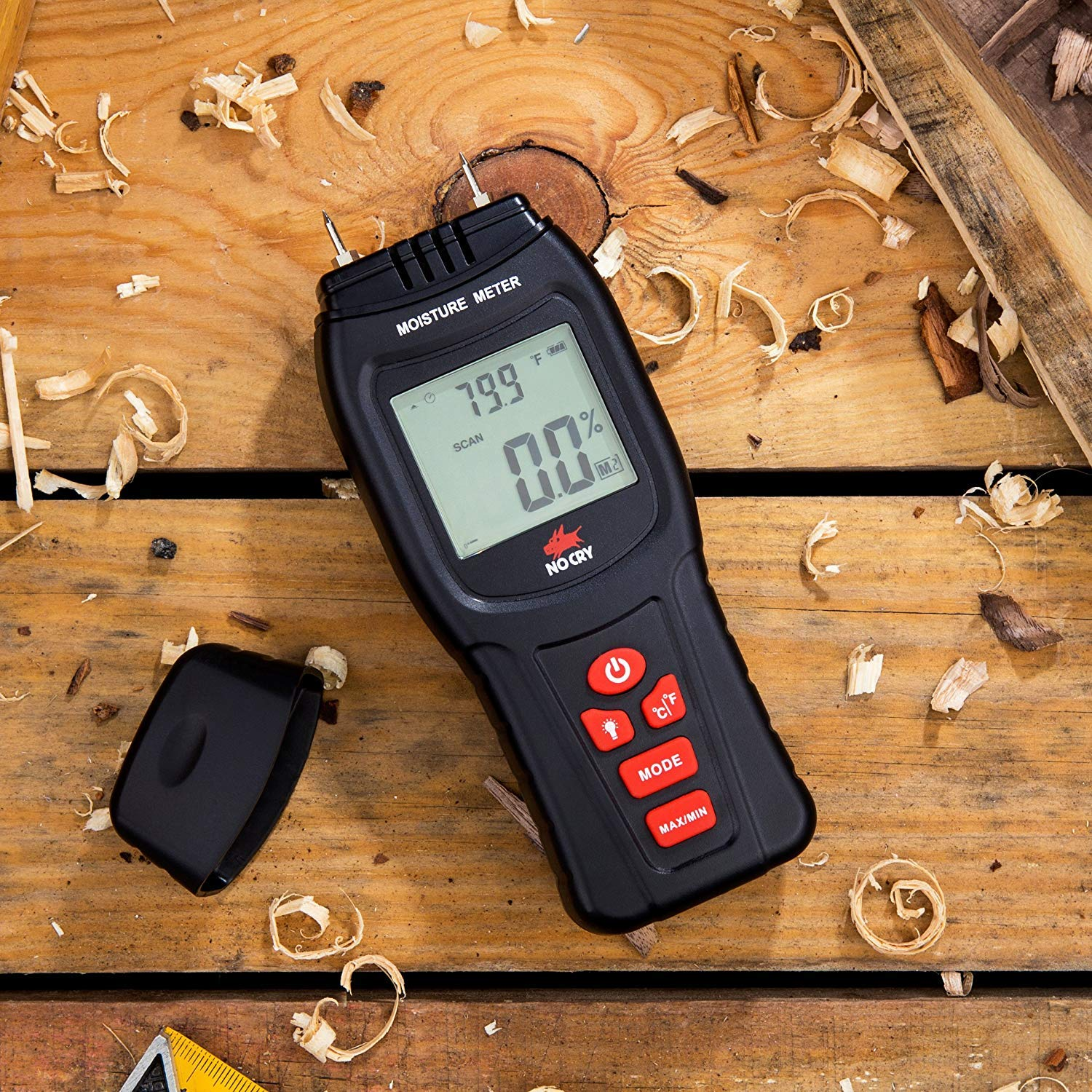 NoCry Digital Moisture Meter - Water Leak Detector and Thermometer for Wood & Building Materials, Battery and Replacement Electronic Probes Included by NoCry (Image #5)
