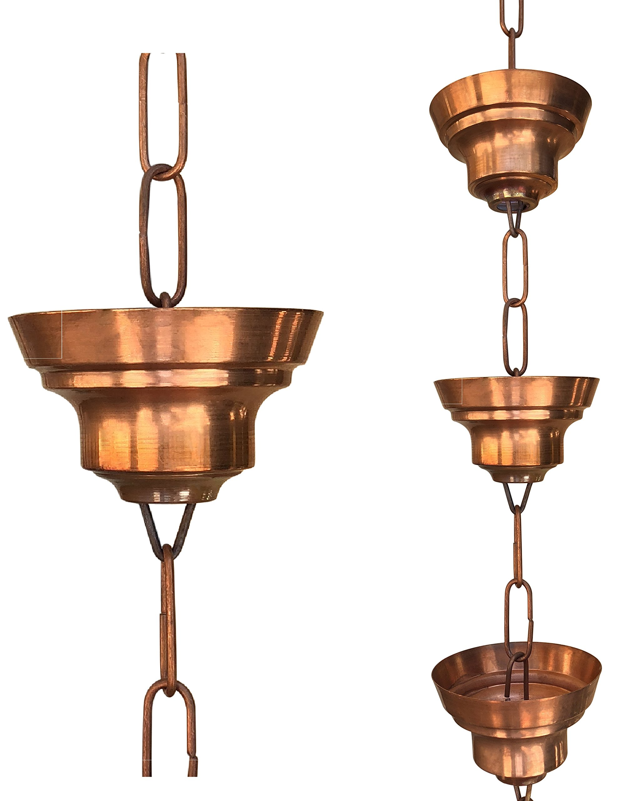 Monarch Pure Copper Tranquility Link Rain Chain, 8-1/2-Feet Length