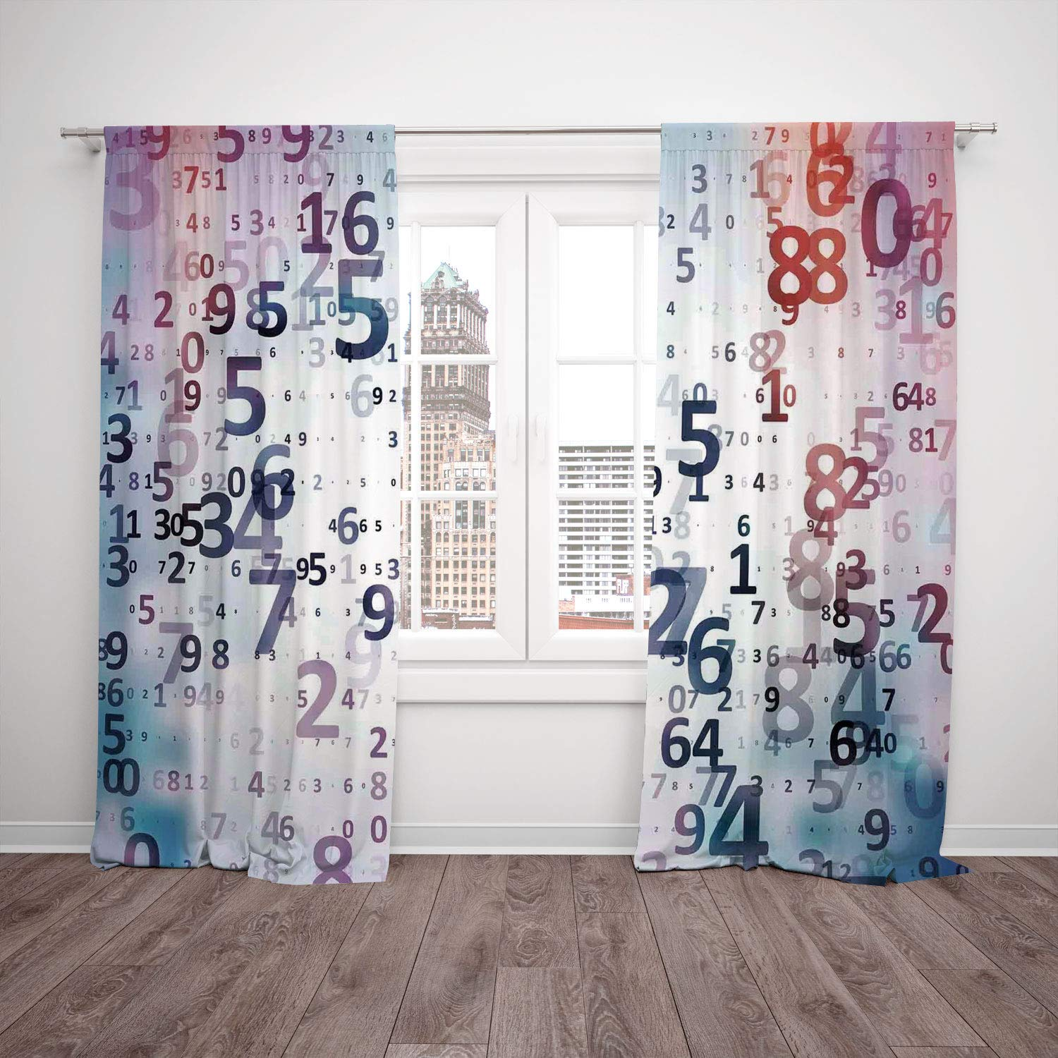 Thermal Insulated Blackout Window Curtain,Abstract Home Decor,Digital Code Numbers Computer Database Science Information Technology Themed Art,Teal Black,Living Room Bedroom Kitchen Cafe Window Drapes
