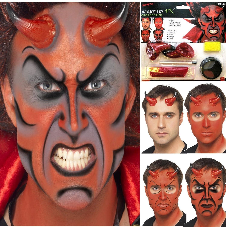 Uncategorized Devil Face Painting halloween devil demon lucifer horns face paint make up fancy dress costume kit amazon co uk toys games