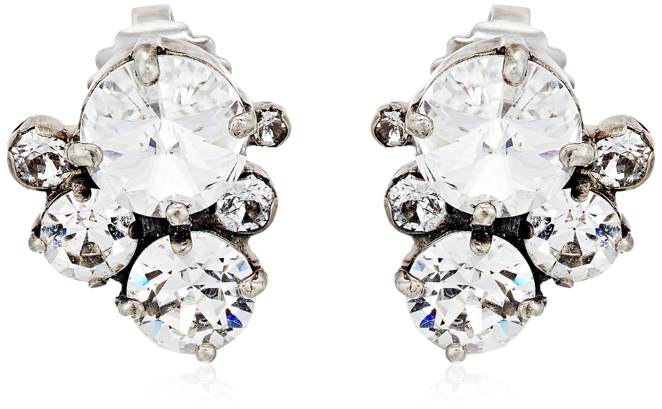 Sorrelli Core Antique Silver Tone Crystal Assorted Rounds Post Earrings by Sorrelli