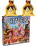 Citadels Game (New 2016 Full Deluxe Updated Edition) by Bruno Faidutti's _ Bonus 2 Gold Metallic Cloth Drawstring Storage Pouches _ Bundled Items