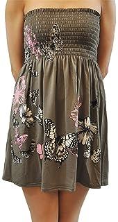 7df69992efe Click Selfie New Ladies Khaki Leaves Butterfly Sheering Strapless Boob Tube  Mini Tops 8-20