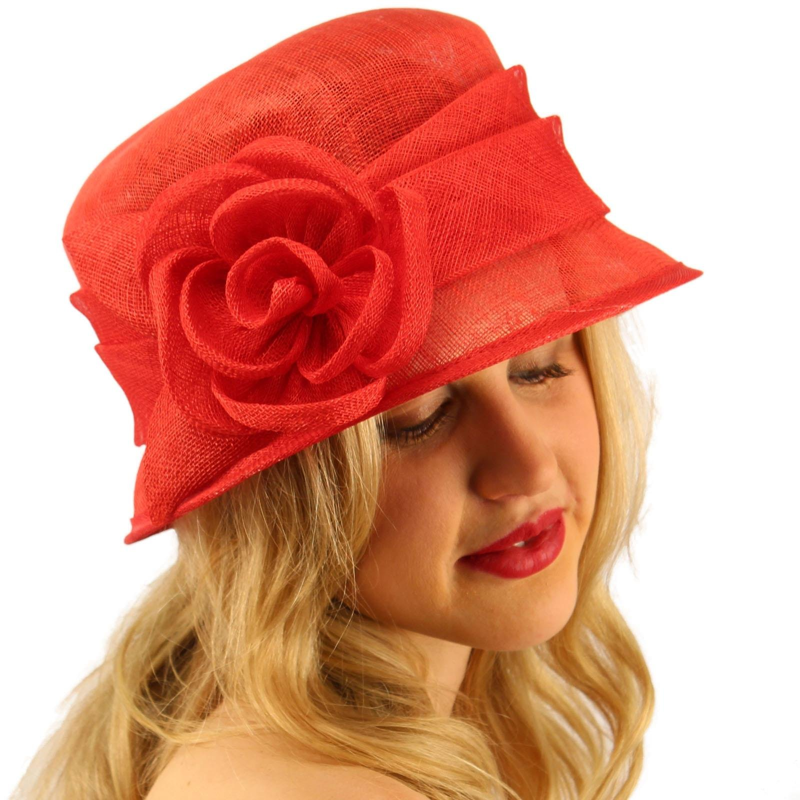 Summer 1920s Flapper Sinamay Floral Cloche Bucket Millinery Church Hat Red by SK Hat shop