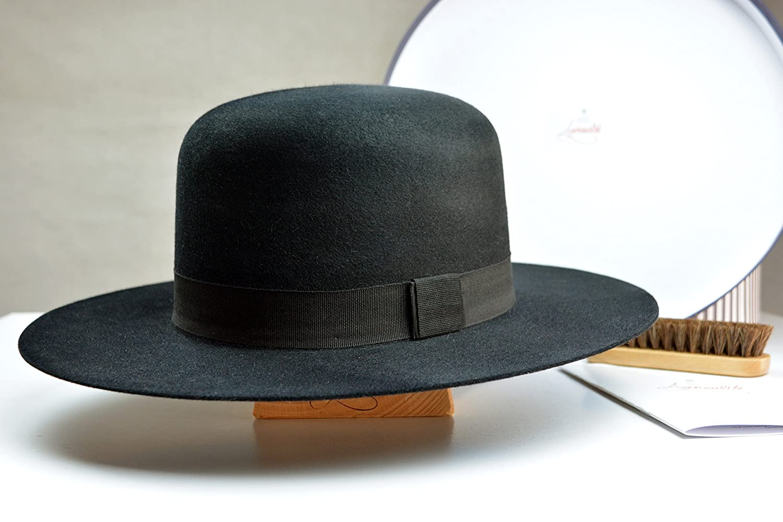 3f6d33980 The Billy J Tiller- Black Rabbit Fur Felt Round Crown Fedora Hat ...