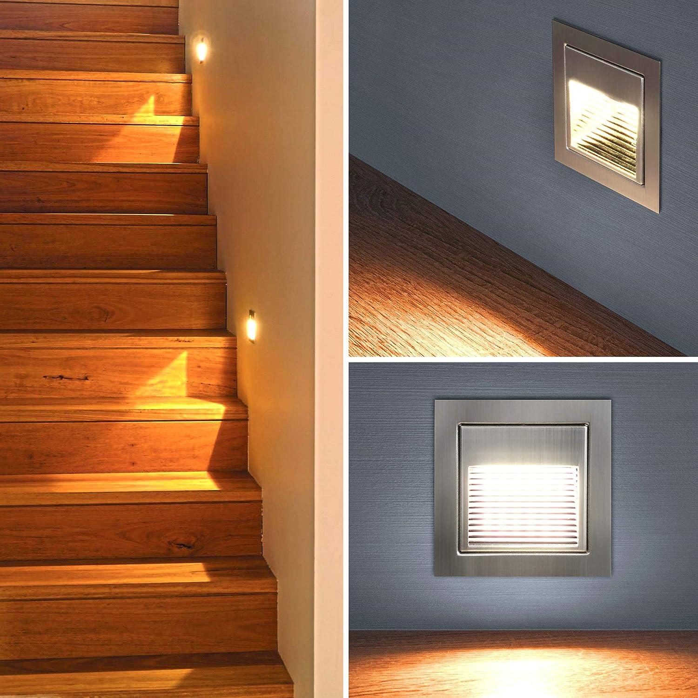 LED Escaleras Iluminación Escaleras – Lámpara de pared empotrable (Foco Escaleras Luz piso Lámpara Luz Nocturna (A012 de l rectangular): Amazon.es: Iluminación
