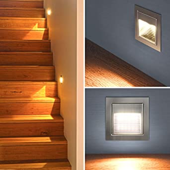LED Escaleras Iluminación Escaleras – Lámpara de pared empotrable (Foco Escaleras Luz piso Lámpara Luz Nocturna (A012 de l rectangular): Amazon.es: Iluminación