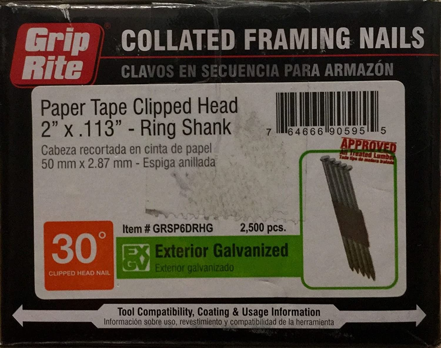 Amazon.com: 2 in. x 0.113 Paper Exterior Galvanized Ring Shank Framing Nails 2500 per Box: Beauty