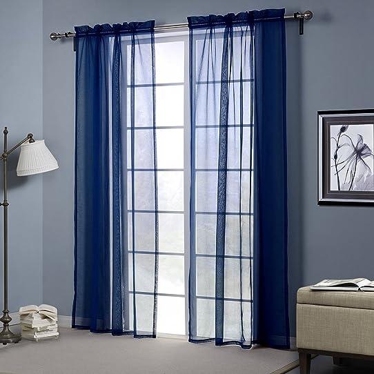 Weare Home Panneau Rideau Voilage Moderne Simple Design Bleu Foncé