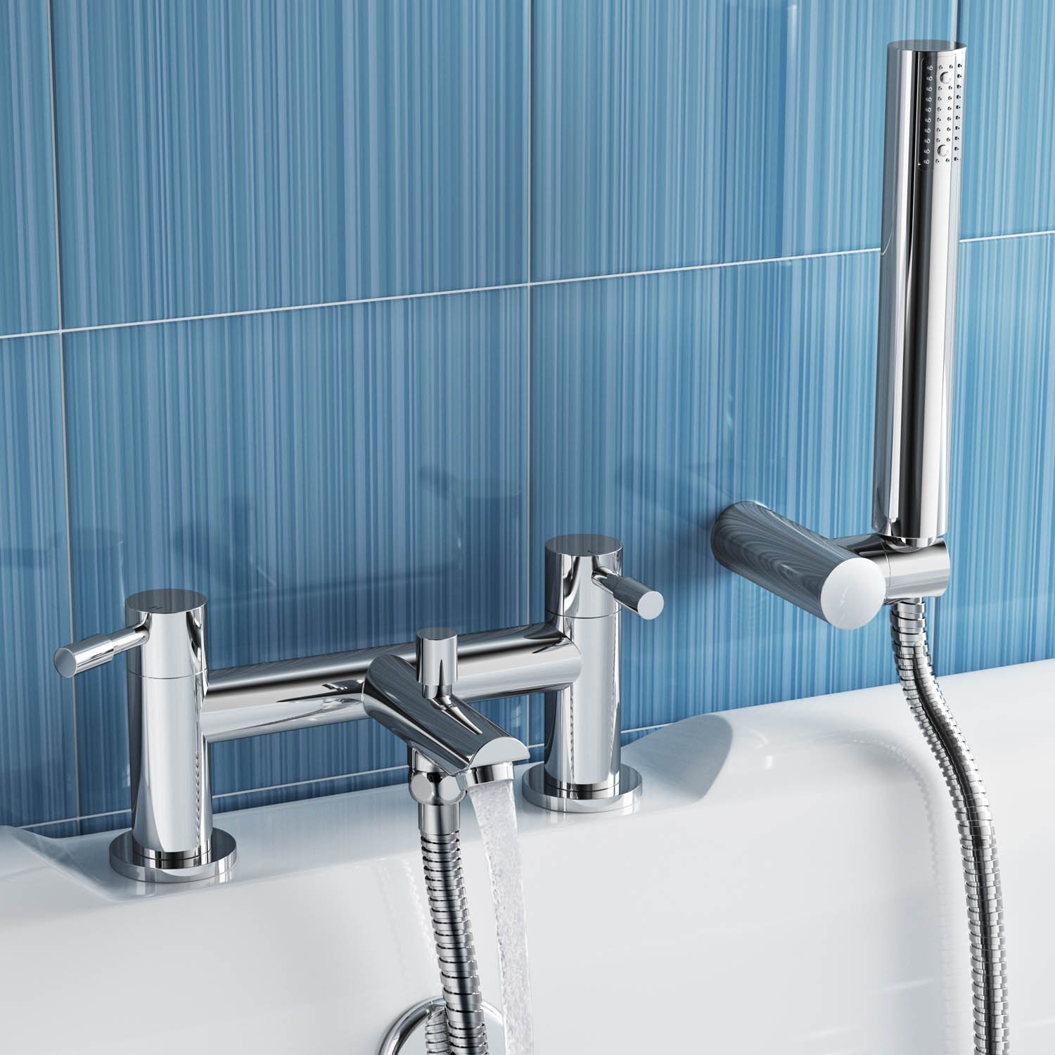 Luxury Bath Filler Mixer Tap with Modern Bathroom Hand Held Shower ...