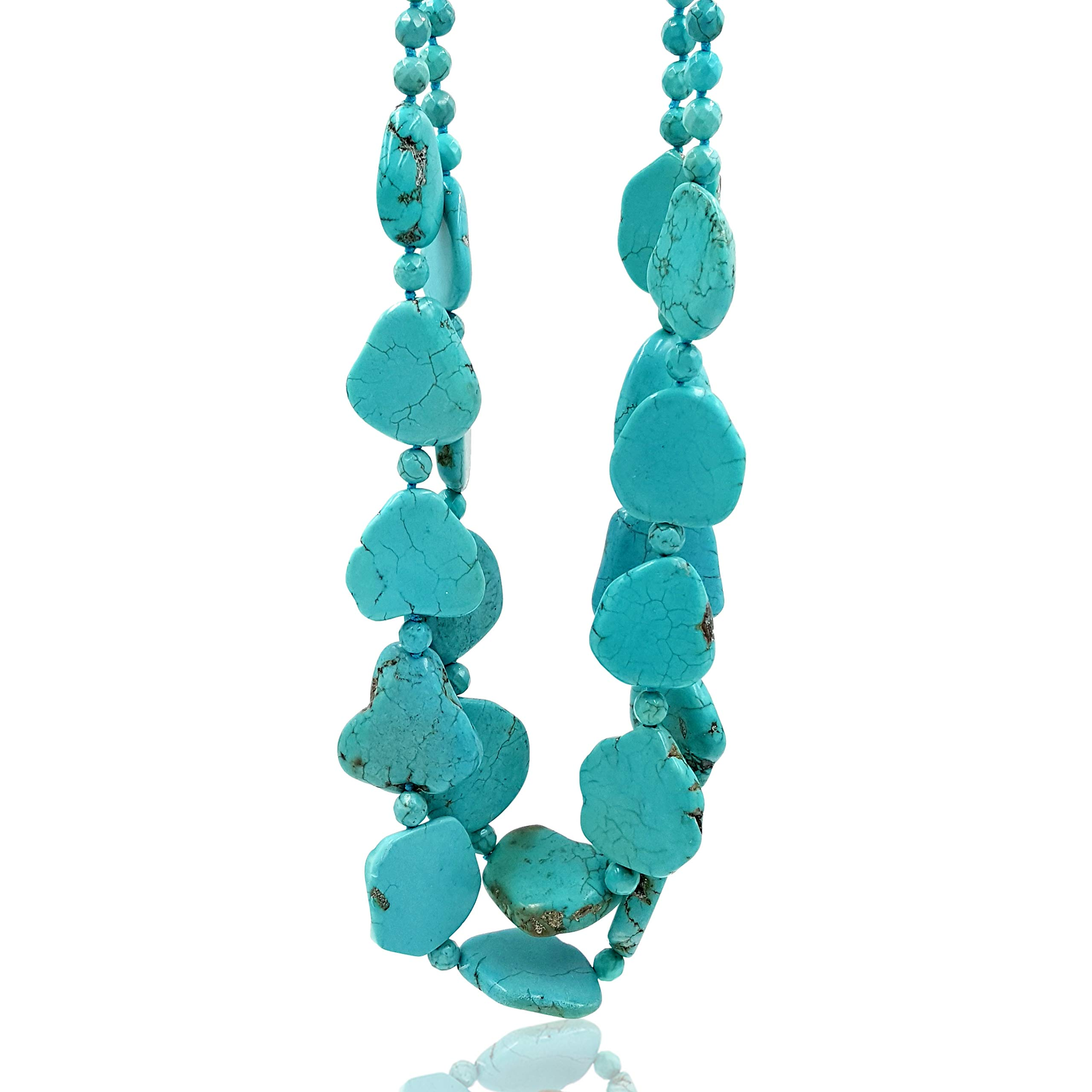 Lii Ji 26.5'' 2 Rows Irregular Shape Blue Simulated Turquoise Howlite Statement Long Necklace by Lii Ji