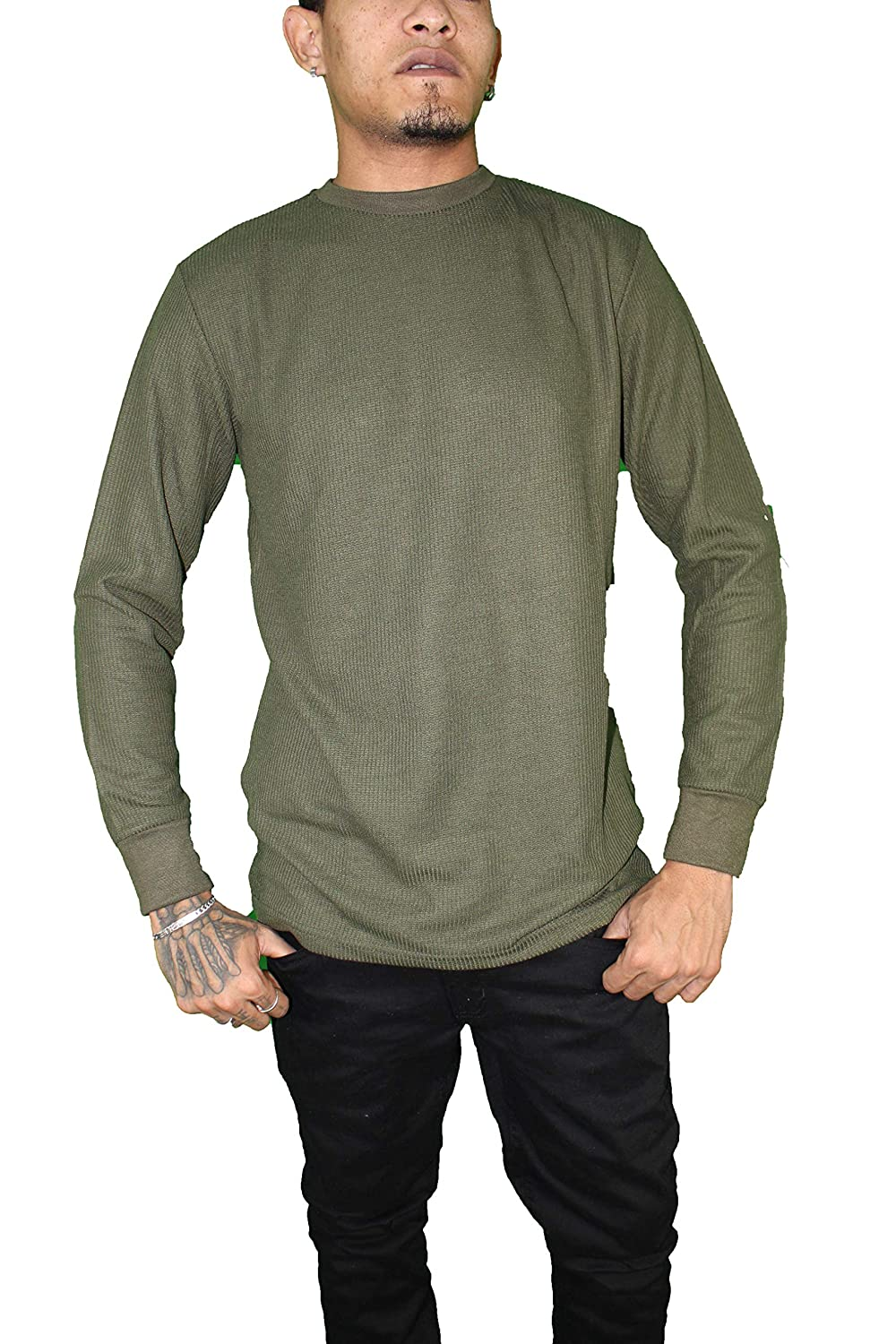 Mens Thermal Shirt Heavyweight Long Sleeve Top Waffle Weave Crew Neck Size S-5X Big & Tall
