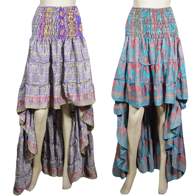 686dcd666e 2pc Womens Hi Low Skirt Bohemian Gypsy Chic Silk Dancing Skirt Beautiful  Flare Boho Style Skirts S/M Purple, Blue at Amazon Women's Clothing store: