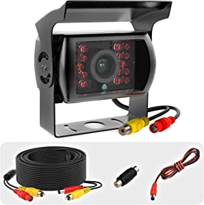 Heavy Duty Backup Camera for Trucks - RCA Backup Camera - Weatherproof Rearview Camera with CMOS Sensor- Night Vision Cam for Trailer, Bus, Van with 33-ft Cable and RCA Coupler