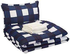 AmazonBasics 6-Piece Comforter Bedding Set, Twin / Twin XL, Navy Oversized Gingham, Microfiber, Ultra-Soft