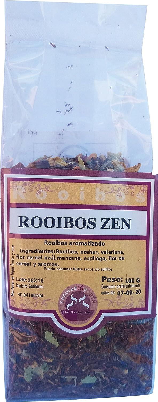 SABOREATE Y CAFE THE FLAVOUR SHOP Saboreateycafe Té Rooibos Zen en Hebra Hoja Granel 100 Gramos Infusiones Naturales, Bebida Isotónica: Amazon.es: ...