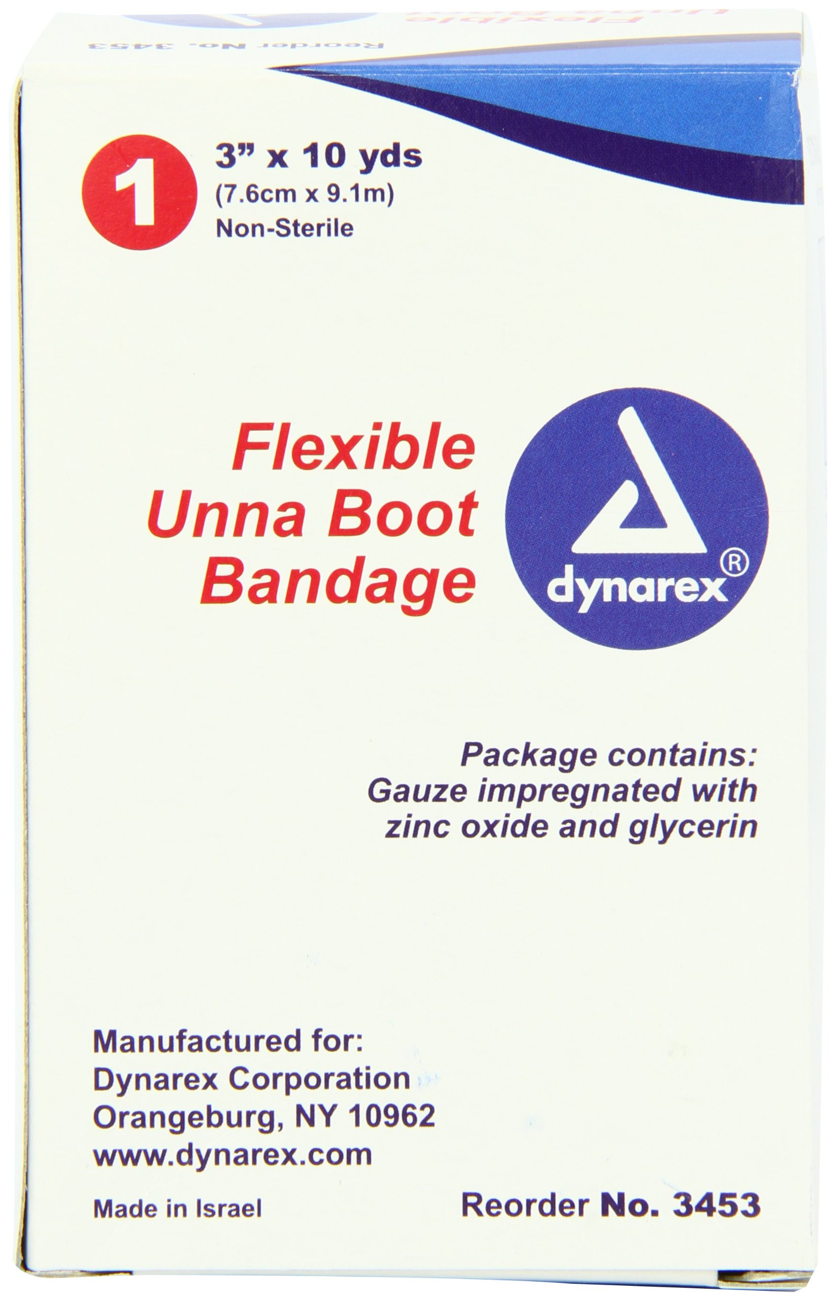 Dynarex Unna Boot Bandage, 3 Inches X 10 Yards, 12 Count