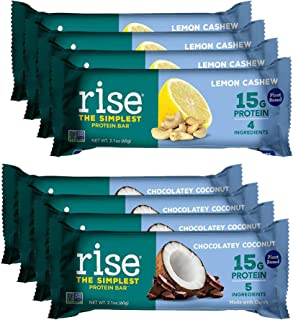 product image for Rise Non-GMO, Gluten Free, Soy Free, Real Whole Food, Plant Based Protein Bar, No Added Sugar, High Protein with Fiber, Potassium, Vitamins & Nutrients 2.1oz (Lemon Cashew, Chocolatey Coconut) 8 Pack