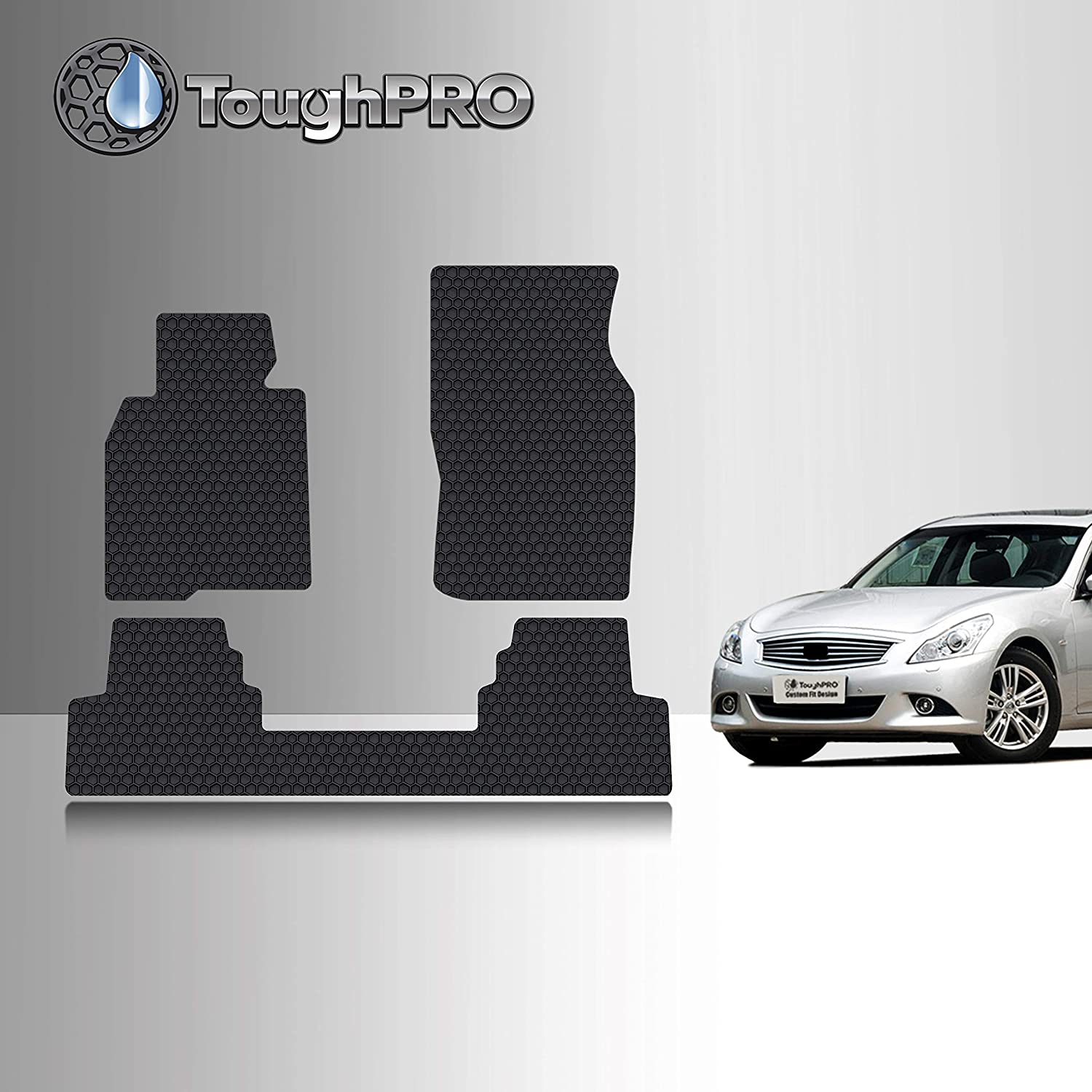 TOUGHPRO Floor Mat Accessories Set (Front Row + 2nd Row) Compatible with Infiniti G35 (Sedan Only) - All Weather - Heavy Duty - (Made in USA) - Black Rubber - 2007, 2008