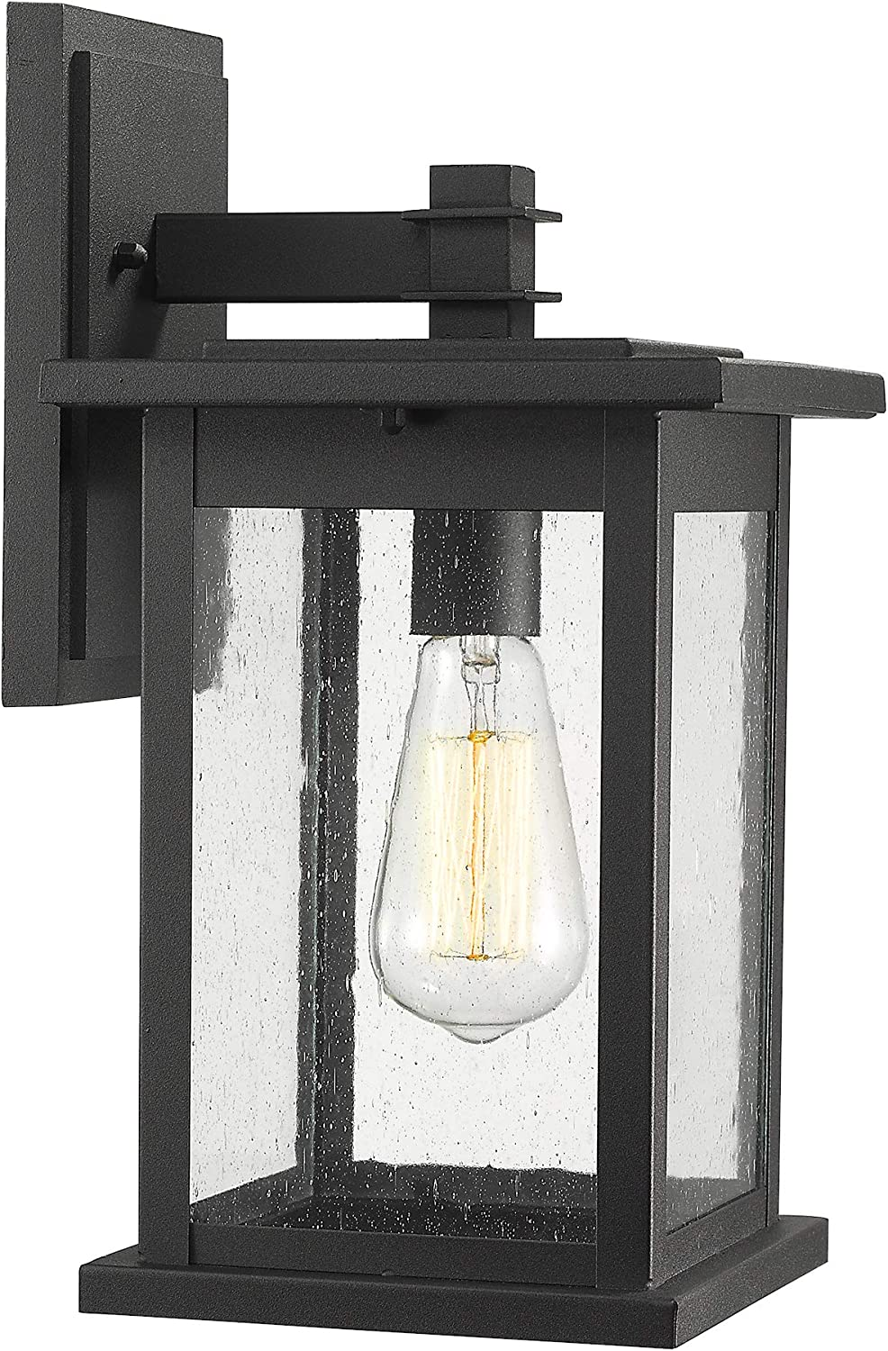 Emliviar Outside Lights For House 1 Light Outdoor Wall Lantern 14 Black Finish With Seeded Glass 1803ew2