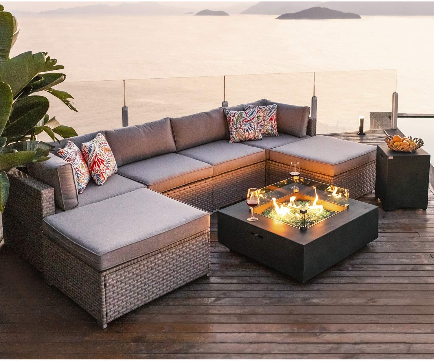 Amazon Com Cosiest 8 Piece Fire Pit Table Outdoor Furniture Sofa Gray Wicker Cushion Sectional W 35 Inch Square Graphite Fire Heater 50 000 Btu W Wind Guard And Tank Outside 20 Gallon For Garden Pool Garden