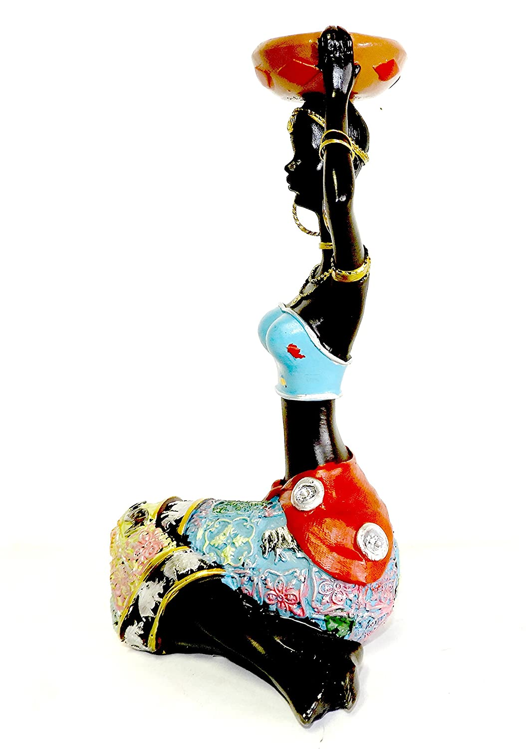 DINY Home Collections African Queen Figurine Sculpture Sitting Lady with Calabash Dependable Industries inc