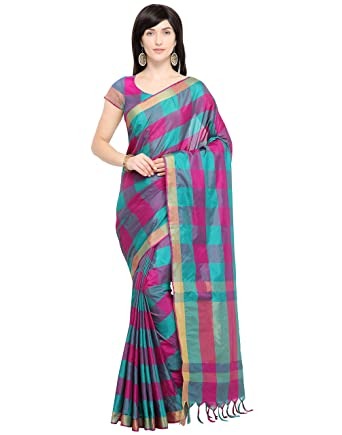 fcb935eb3f 7Rainbow India Women's Cotton Plain Handloom Chanderi Saree with Blouse ( Multicolor)