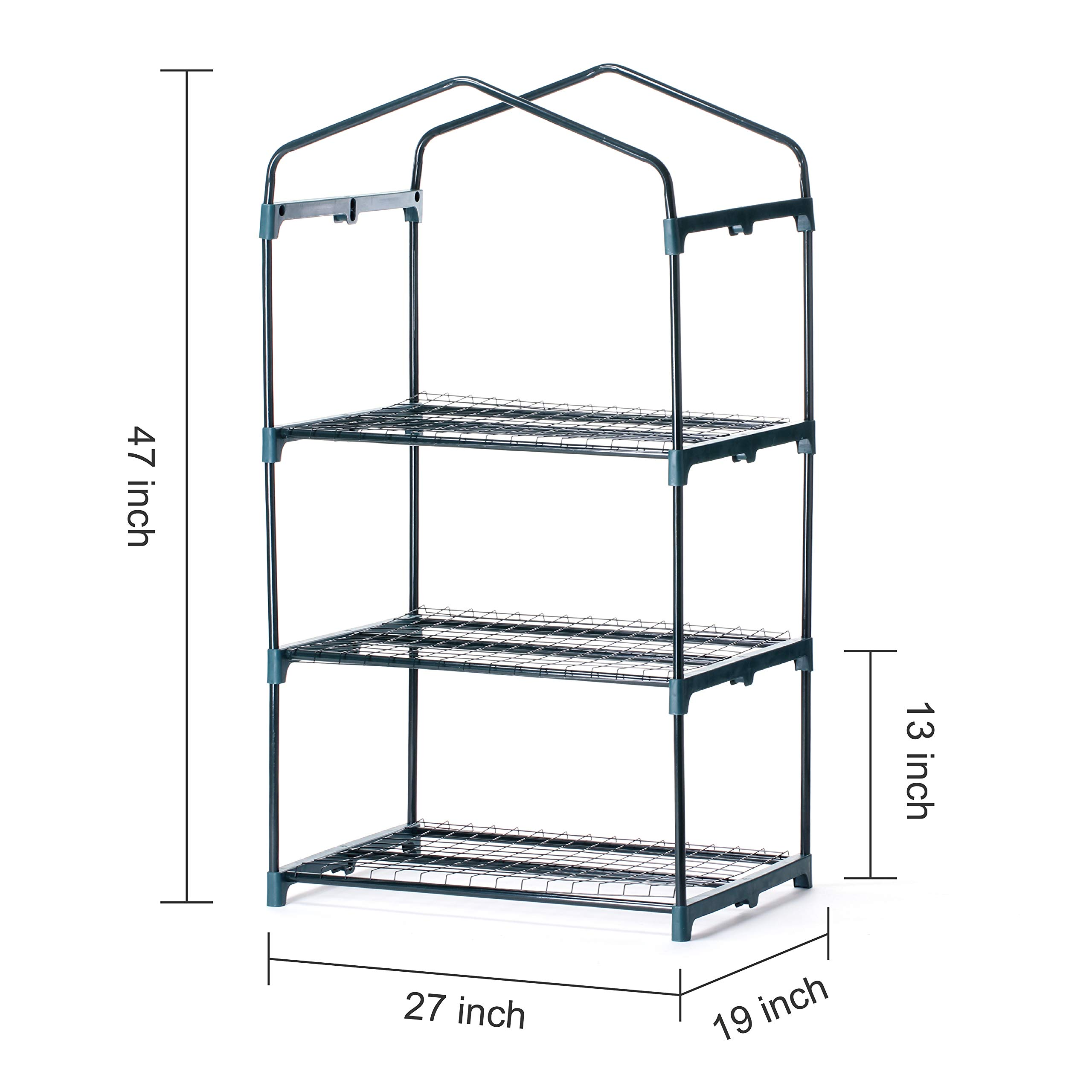 Worth MINI GREENHOUSE (ALL NEW) - NEW METAL GREEN VERSION 3 tier COLLAPSABLE shelves - Best Greenhouse ROLL UP ZIPPER DOOR Seedlings & Seed Propagation Plant Growing - 3 Year GUARANTEE
