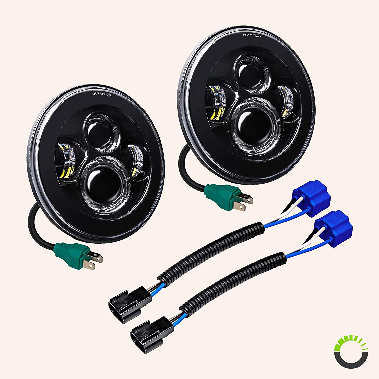 7 Round CREE LED Headlights for Jeep Wrangler JK TJ LC CJ Hummer H1 H2 Built-In CANBus H4 Plug n Play 4500 Lumens - Accessories for Jeep Wrangler 1987-2018 Head Lights
