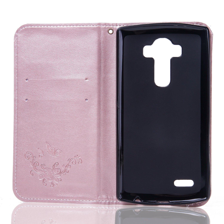 blanc Ecoway Papillon Rose Embossage PU Cuir en Housse de protection Coques avec porte-cartes Porte-monnaie Porte-monnaie Ceinture d/étachable pour LG G4 LG G4 Bo/îtier en cuir