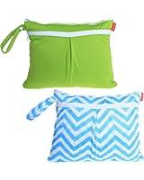 Damero 2pcs/pack Cute Travel Baby Wet and Dry Cloth Diaper Organiser Bag. Green+Blue Chevron