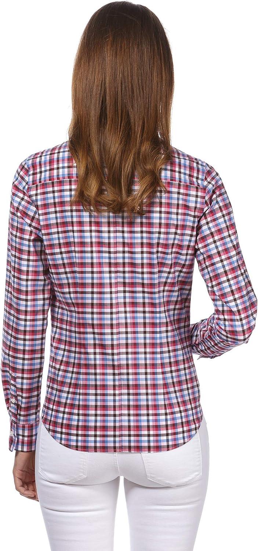100/% algod/ón Elegante y cl/ásica Manga-Larga Corte Ligeramente m/ás angosto Cuello Kent f/ácil de Planchar Lisa Vincenzo Boretti Camisa de Mujer