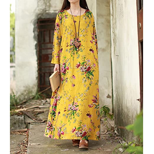 Chiffoned Women Spring Dresses Plus Size Cotton Linen Maxi Dress Vintage Loose Floral Print Beach Robe Dress at Amazon Womens Clothing store: