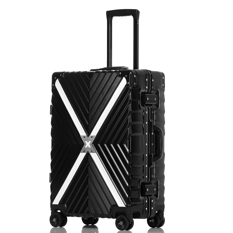 クロース(Kroeus) スーツケース 4輪ダブルキャスター 静音 アルミフレーム 大容量 軽量 人気 キャリーケース 旅行 出張 TSAロック搭載 多段階調節キャリーバー コーナープロテクト B078S13N2X 2XL|ブラック