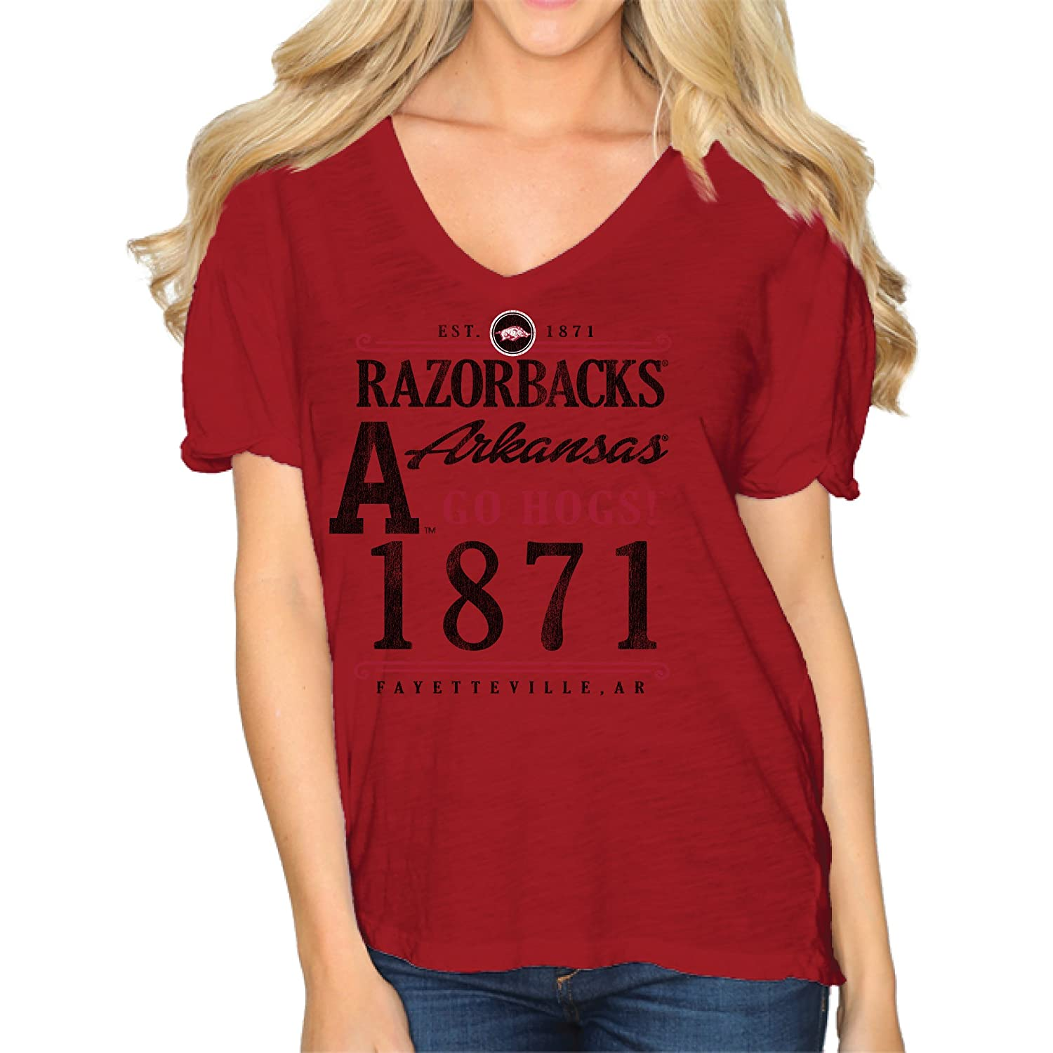 Amazon.com   Original Retro Brand NCAA Arkansas Razorbacks Women s Slub V  Neck Tee d08d79d94