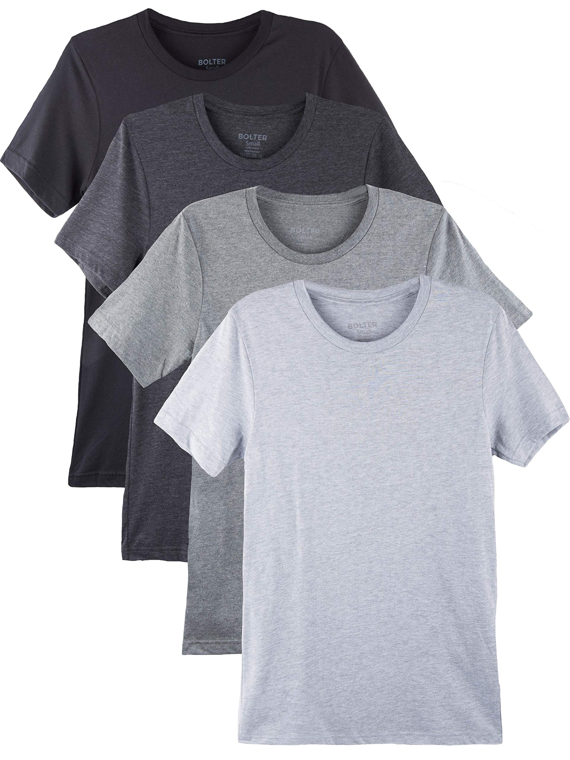Bolter 4 Pack Men's Everyday Cotton Blend Short Sleeve T-Shirt (Medium, Blk/H.Greys)